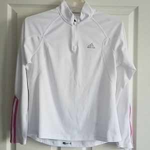 Adidas Long Sleeve Tech Tee w/ Pink Accent Stripes